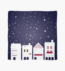 Cute christmas town. Stylized illustration Scarf