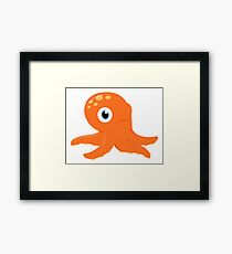 Orange underwater Octopus : for Kids Framed Print