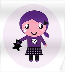 Little emo girl drawing. Vector Illustration. Poster