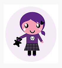 Little emo girl drawing. Vector Illustration. Photographic Print