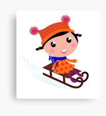 Cute Girl sledding in Winter. Vector cartoon Illustration Canvas Print