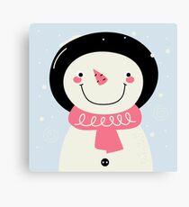 Cute Snowman Vector cartoon Illustration / pink Canvas Print