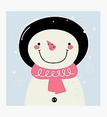 Cute Snowman Vector cartoon Illustration / pink Photographic Print