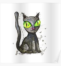 Black cat with green eyes Poster