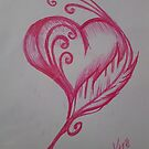 Pink heart and feather  by KathHanthorneAr