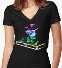 HOUSE CAT (Rainbow DJ Kitty) Women's Fitted V-Neck T-Shirt