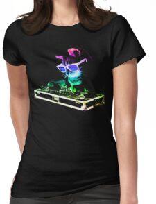 Rainbow DJ Cat Womens Fitted T-Shirt