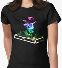 HOUSE CAT (Rainbow DJ Kitty) Women's Fitted T-Shirt