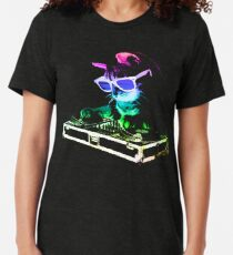 Camiseta de tejido mixto CASA CAT (Rainbow DJ Kitty)
