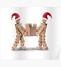 Two boxmen with Christmas hats lifting a heavy box Poster