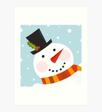 Good morning, Snowman! Cute art illustration Art Print