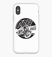Get Cafe Racer TV merchandise with a classic black & white logo iPhone Case