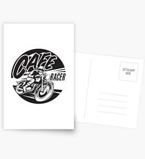 Get Cafe Racer TV merchandise with a classic black & white logo Postcards