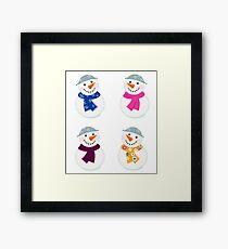 Colorful vector snowman icons : art illustration Framed Print