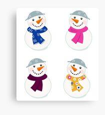 Colorful vector snowman icons : art illustration Canvas Print