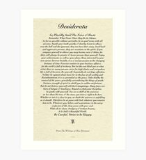 Original Desiderata Poem by Max Ehrmann Art Print