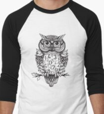 Owl sketch with numbers, glasses Men's Baseball ¾ T-Shirt