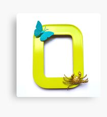 Blue butterfly and gold crab sit on a frame Canvas Print