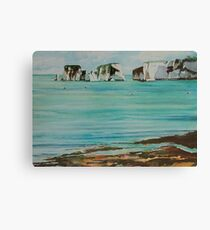 Old Harry Rock Watercolour Canvas Print