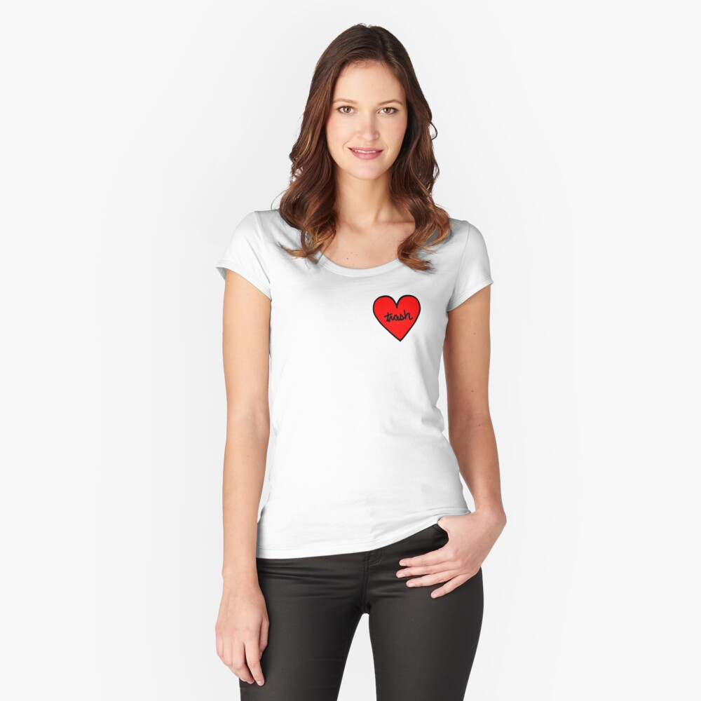 I LOVE TRASH heart patch Women's Fitted Scoop T-Shirt Front