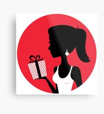 Art woman holding Gift / enjoy Sexy lady  Red silhouette Metal Print