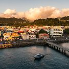 Sun setting on Roseau, Dominica by Mark Prior