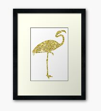 Vintage Pink Flamingo Collage Illustration Retro 1800s Flamingos Watercolor Collage Framed Print