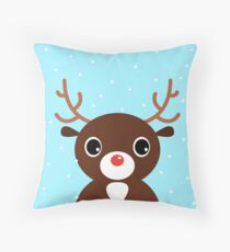 New in shop : reindeer Art edition / blue Throw Pillow