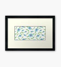 Floral Pattern   Mint & Turquoise on White Framed Print
