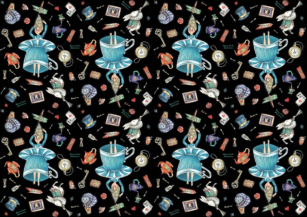 Alice in wonderland pattern by RosariaCosta