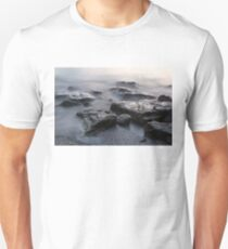 Rough and Soft - Smoky Waves and Rocks on the Beach  T-Shirt