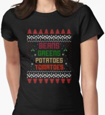 Beans, Greens, Potatoes, Tomatoes Thanksgiving Fitted T-Shirt