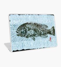Gyotaku Tautog on Rice Paper w Black Border Laptop Skin