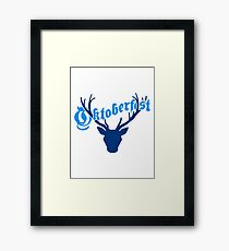 deer horns oktoberfest text lettering shirt cool design Framed Print