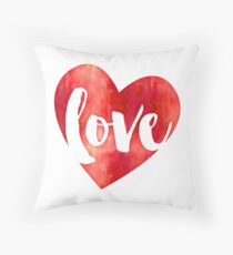 WATERCOLOUR LOVE HEART modern brush script typography Throw Pillow