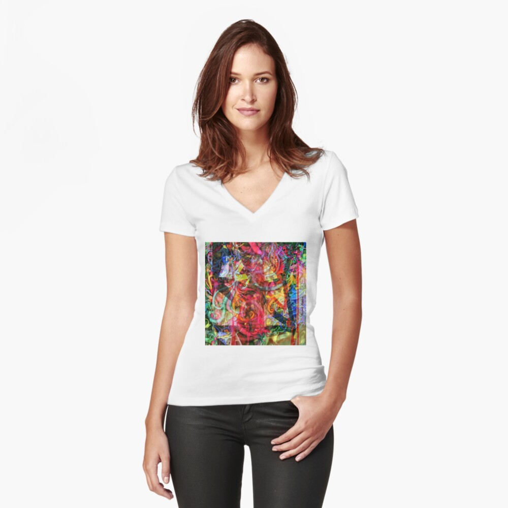 Qualia's Hummingbird Tower Fitted V-Neck T-Shirt