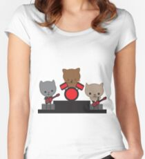 Kitty Cat Kawaii Band Women's Fitted Scoop T-Shirt
