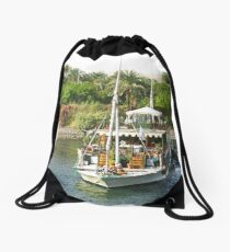 Harbour Life along the River Nile Drawstring Bag