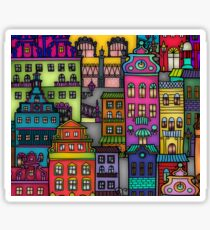 Folk Art City scene Sticker