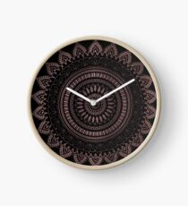Modern tribal rose gold mandala design Clock