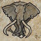 Cave Art - Bull Elephant by Jan Szymczuk