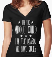 I'm the Middle Child I'm the reason We have rules Women's Fitted V-Neck T-Shirt