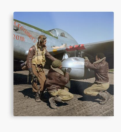 Edward C. Gleed and two other Tuskegee airman — Colorized  Metal Print