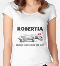 Robertia. Because Dicynodonts Are Cute - Paleontology Women's Fitted Scoop T-Shirt