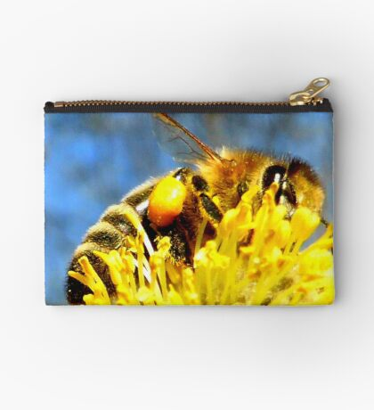 Bee with pollen on pussy willow Studio Pouch