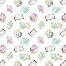 Book Nerd! Watercolor Pattern Illustration of Books & Tea by arosecast