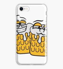 freunde team crew cool lustig gesicht lebendig comic cartoon durst logo bier krug saufen trinken party feiern spaßtrinken alkohol symbol cool shirt oktoberfest  iPhone Case/Skin