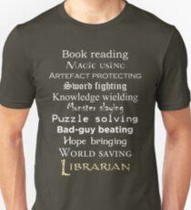 Librarian white text Unisex T-Shirt