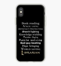 Librarian white text iPhone Case