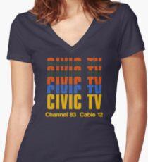 CIVIC TV - VIDEODROME MOVIE Women's Fitted V-Neck T-Shirt